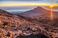 Sunrise over Mawenzi Peak, Mount Kilimanjaro, Tanzania, Africa Royalty Free Stock Photo