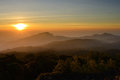 Sunrise over mountain at doi in thanon thailand Royalty Free Stock Photos