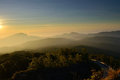 Sunrise over mountain at doi in thanon thailand Royalty Free Stock Photography