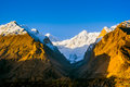 Sunrise over mountain peak northern area of pakistan beautiful landscape valley Royalty Free Stock Photography