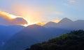 Sunrise over mountain in Unzen, Kyushu,  Japan Royalty Free Stock Photo