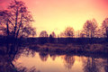 Sunrise over the river landscape Royalty Free Stock Photos