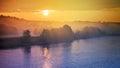 Sunrise over river Neris Royalty Free Stock Photo