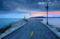 Sunrise over road on the sea in thailand Royalty Free Stock Image