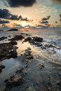 Sunrise over rocky coastline on meditarranean sea landscape in s beautiful seascape mediterranean Stock Image