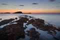 Sunrise over rocky coastline on meditarranean sea landscape in s beautiful seascape mediterranean Stock Images