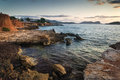 Sunrise over rocky coastline on meditarranean sea landscape in s beautiful seascape mediterranean Royalty Free Stock Photo