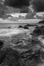 Sunrise over rocky coastline on meditarranean sea landscape in s beautiful seascape mediterranean black and white Stock Photos