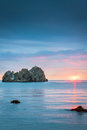 Sunrise over the sea a beautiful with island in background Royalty Free Stock Images