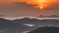 Sunrise Over Sea fog and mountain Royalty Free Stock Photo