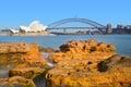 Sunrise over the Sydney Harbour Bridge and the Opera House Sydne Royalty Free Stock Photo