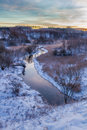 Sunrise over the winter valley europe Royalty Free Stock Photography