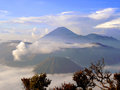 Sunrise overlooking the caldera of tengger and volcano bromo and semeru Royalty Free Stock Images