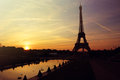 Sunrise in paris with eiffel tower Royalty Free Stock Images