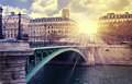 Sunrise paris river Royalty Free Stock Photo