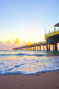 Sunrise at the pier in Dania Beach Florida Royalty Free Stock Photo