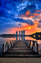 Sunrise at pullman putrajaya boat jetty maritim Royalty Free Stock Images