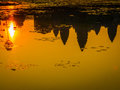 Sunrise reflections in Angkor Wat Royalty Free Stock Photo