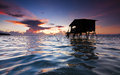 Sunrise with rippling water surface at Sabah, Malaysia Royalty Free Stock Photo