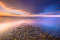 Sunrise at a river mouth on Lesbos island Royalty Free Stock Photo