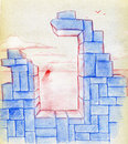 Sunrise and ruins a sad landscape of the ruined house with only one window left a seen through it colored pencil drawing Stock Photo