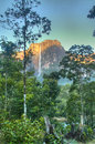 Sunrise at salto angel in the national park of canaima s falls venezuela Stock Photos