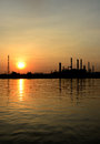 Sunrise scene of Oil refinery Stock Photo