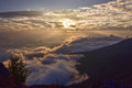 Sunrise and The sea of fog in the mountains. Royalty Free Stock Photo