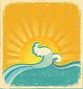 Sunrise seascape.Vintage Royalty Free Stock Photo
