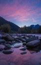 Sunrise on the Skykomish River, Washington State Royalty Free Stock Photo