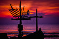Sunrise small fishing boat under at hua hin beach Royalty Free Stock Photos