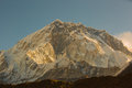 Sunrise on snow capped mountain on the way to everest base camp Royalty Free Stock Photo