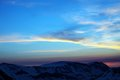 Sunrise in snow mountains turkey central taurus aladaglar anti taurus view from plateau edigel Stock Image