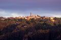 Sunrise from sublime point in blue mountains australia rising sun illuminates town of katoomba overlooking the majestic near Stock Image