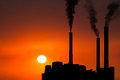 Sunrise Sunset Factory Industry Pollution Royalty Free Stock Photo