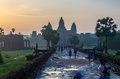 Sunrise and the three towers of Angkor Wat Royalty Free Stock Photo