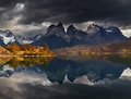 Sunrise in torres del paine national park lake pehoe and cuernos mountains patagonia chile Stock Photo