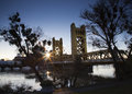 Sunrise River Bridge City Sun Flare Sacramento Royalty Free Stock Photo