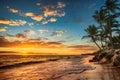 Sunrise on a tropical island. Landscape of paradise tropical isl Royalty Free Stock Photo