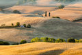 Sunrise in tuscan countryside near Pienza, Italy Stock Photos