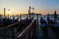 Sunrise in Venice with gondolas Royalty Free Stock Images