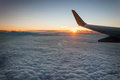 Sunrise view from the airplane window Royalty Free Stock Photo