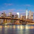 Sunrise view of  Brooklyn Bridge and Manhattan skyline, New York Royalty Free Stock Photo