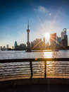 Sunrise view at the bund in shanghai a summer morning Royalty Free Stock Photography