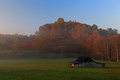Sunrise in west virginia with deer and autumn colors Stock Photo