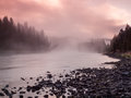 Sunrise yellowstone river yellowstone np usa foggy at Stock Photo