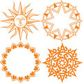 Suns clip art collection of several sun themed designs Royalty Free Stock Images