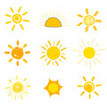 Suns drawings symbolic sun icons childs style of drawing vector illustration Stock Photos