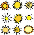 Suns vector set Royalty Free Stock Images