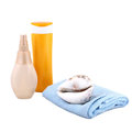 Sunscreen cream and bath towel isolated Royalty Free Stock Image